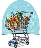 shopping trolley with products