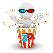3d white people come out of popcorn