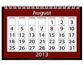 3d Render 2013 Calendar August