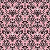 Seamless Pink & Black Damask