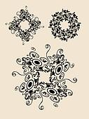 Abstract 3 decorative ornaments