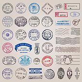 Vintage postage stamps vector set