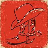 Cowboy boot and western hat .Sketch illustration foe design