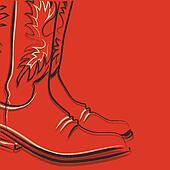 Cowboy boots on red background