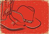 Cowboy boots and western hat .Sketch illustration on red backgro