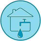 icon with drop, faucet and house