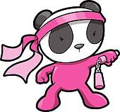 Cute Pink Panda Bear Ninja Vector