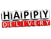 3D Happy Delivery Button Click Here Block Text