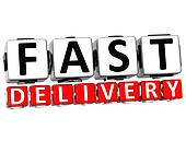 3D Fast Delivery Button Click Here Block Text