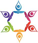 Teamwork yoga people logo vector