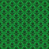 Seamless Green & Black Damask