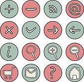 Doodle vector web icons or buttons