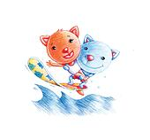 Surfing cats