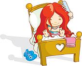 woke up late stock illustrations royalty free gograph little girl waking up clipart Girl Waking Up Early