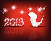 Happy new year 2013 with starry firework, vector illustration.