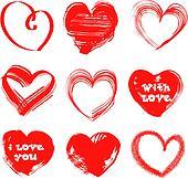 Valentines Day handdrawn hearts