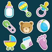 Colorful Baby Shower Icons