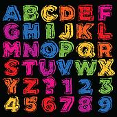 Colorful Hand Drawn Alphabet and Nu