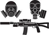 sniper rifle and gas masks. stencil