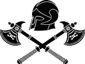 fantasy barbarian helmet with axes