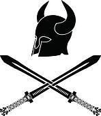 fantasy barbarian helmet with sword
