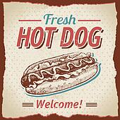 Vintage hot dogs background