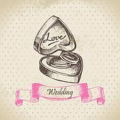 Box with wedding rings. Hand drawn illustration