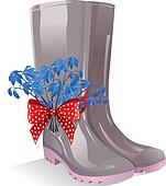 Rubber boots with bouquet primrose
