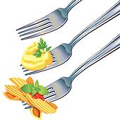 Pasta and mashed potatoes on fork