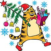 Red cat with Christmas tree