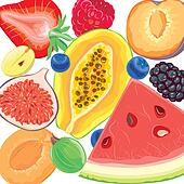 Mix berries and tropical fruits