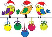 Hand-drawn funny christmas birds