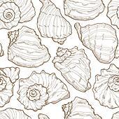 Hand drawing seashell seamless