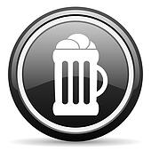 beer black glossy icon on white background