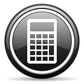 calculator black glossy icon on white background