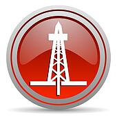 drilling red glossy icon on white background