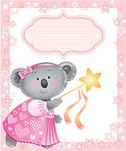 Baby pink frame with koala