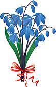 Bouquet blue snowdrops