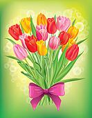 Bouquet of fresh spring tulips different colors