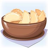 Dish with dumplings