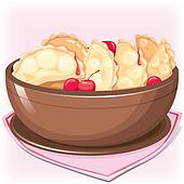 Dish with dumplings with cherry