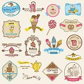Vintage Bakery and Dessert labels - for design and scrapbook - in vector