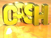 3D Word Cash on yellow background