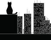 big city cat. stencil