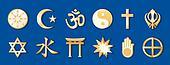 World Religions, Blue Background