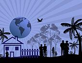 House with a family silhouette and earth globe