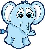 Cute Blue worried Elephant vector