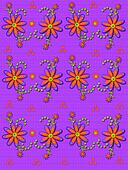 Daisy Garden on Linen Purple