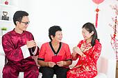 chinese new year family with good luck wishes