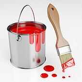 Can of red paint